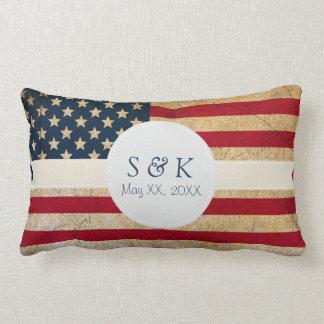 American Flag Custom Monogram Wedding Date Pillow
