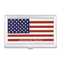 American Flag Customizable Business Card Case