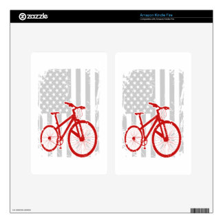 American Flag Cycling T-Shirt Decals For Kindle Fire