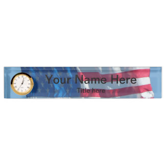 American Flag Desk Name Plate