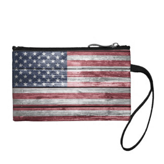 American Flag Distressed Beams Coin Purse