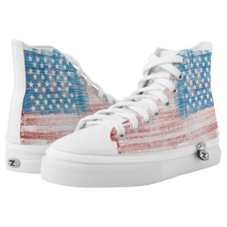 American Flag Distressed High Tops Printed Shoes