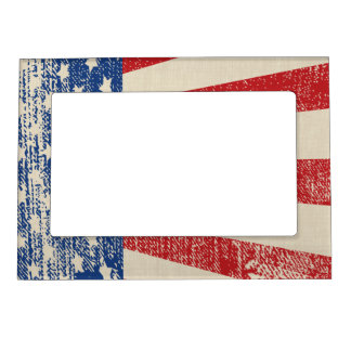 American Flag Distressed Look Magnetic Photo Frame