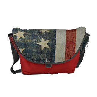 American Flag Distressed Patriotic Courier Bag