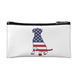 American Flag Dog Cosmetic Bag