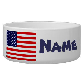 American Flag Dog Dish Dog Bowl