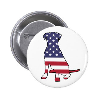 American Flag Dog Pinback Button