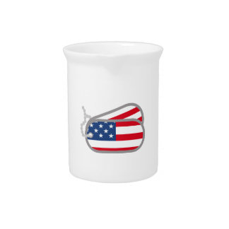 AMERICAN FLAG DOG TAGS DRINK PITCHER