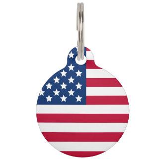 American Flag Pet Name Tags