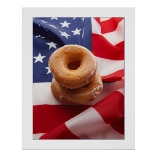 American Flag & donuts Design Poster/print 23x29 Poster