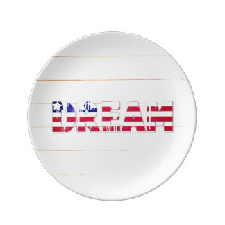American Flag Dream Porcelain Plate