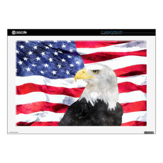 "AMERICAN FLAG & EAGLE DECALS FOR 17"" LAPTOPS"