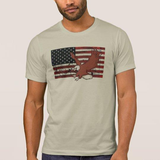 American flag eagle grunge guys tee