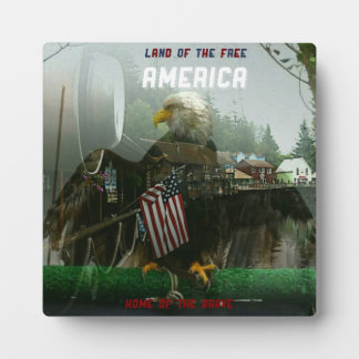 American Flag Eagle Land of The Free Plaque