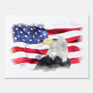AMERICAN FLAG & EAGLE LAWN SIGN