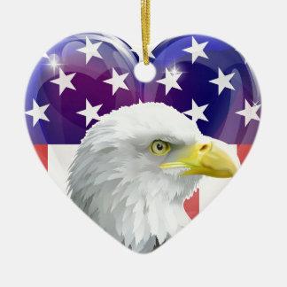 American flag eagle love heart ceramic heart decoration