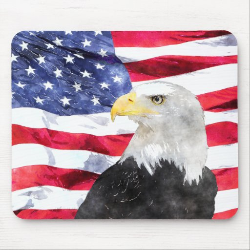 AMERICAN FLAG & EAGLE MOUSEPAD
