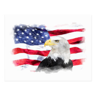AMERICAN FLAG & EAGLE POSTCARD