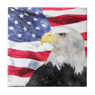 AMERICAN FLAG & EAGLE SMALL SQUARE TILE