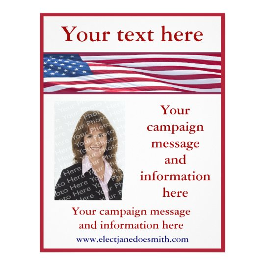 American Flag Election Campaign Flyer Template Zazzle