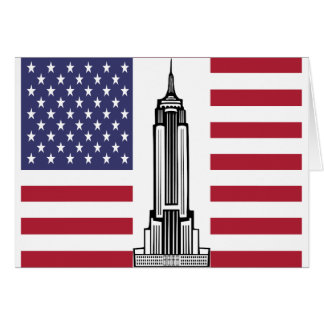 American Flag Empire State Building Notecards Stationery Note Card