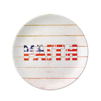 American Flag Faith Porcelain Plate