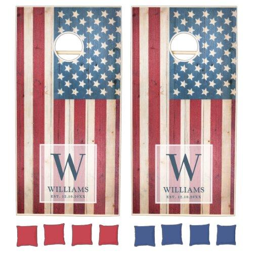 American Flag  Family Monogram  Wood Styled Cornhole Set