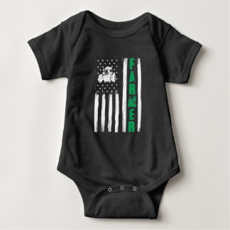 American Flag Farmer Tractor Patriotic US Proud Baby Bodysuit