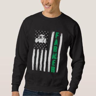 American Flag Farmer Tractor Patriotic US Proud Sweatshirt