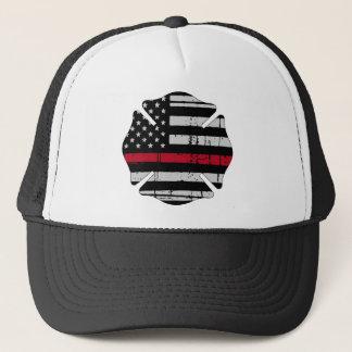 American Flag Fireman Cross Thin Red Line Trucker Hat