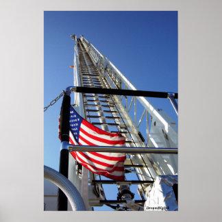 American Flag & Firetruck poster
