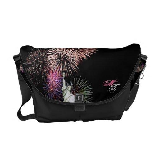 American Flag, Fireworks and Statue of Liberty Bag Messenger Bag