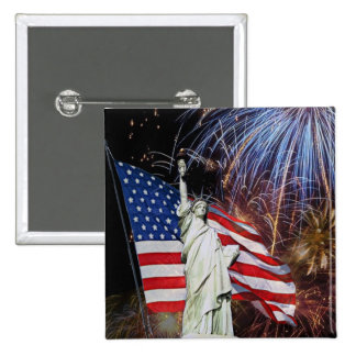 American Flag, Fireworks and Statue of Liberty Pinback Button