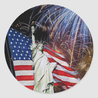 American Flag, Fireworks and Statue of Liberty Classic Round Sticker