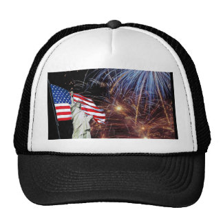 American Flag, Fireworks and Statue of Liberty Trucker Hat