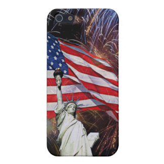 American Flag, Fireworks and Statue of Liberty Cover For iPhone 5