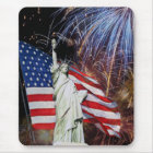 American Flag, Fireworks and Statue of Liberty Mouse Pad
