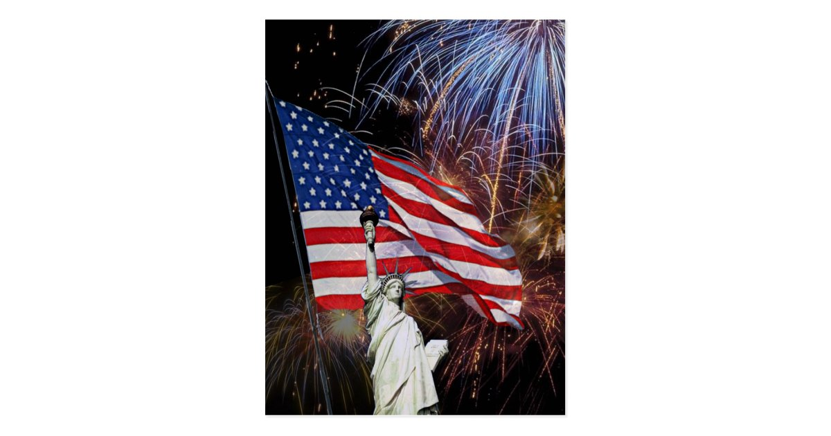 American Flag, Fireworks and Statue of Liberty Postcard ...