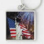 American Flag, Fireworks and Statue of Liberty Silver-Colored Square Keychain