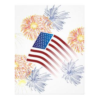 American Flag Fireworks Letterhead Design