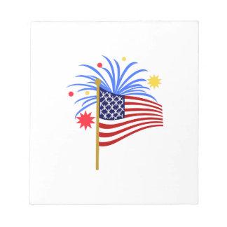 American Flag Fireworks Memo Pads