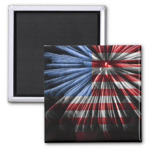 American Flag Fireworks Refrigerator Magnet