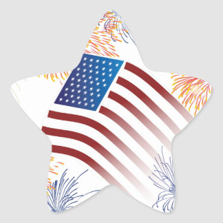 American Flag Fireworks Star Sticker