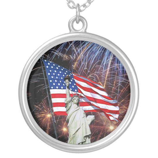 American Flag Fireworks & Statue of Liberty Design Silver Plated Necklace