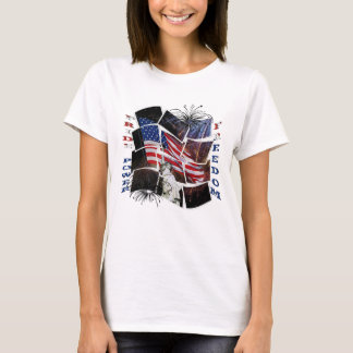 American Flag, Fireworks, Statue of Liberty T-Shirt