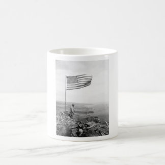 American Flag Flying Over Mount Suribachi - WWII Coffee Mug