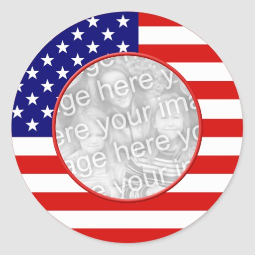 American Flag Frame Round Stickers