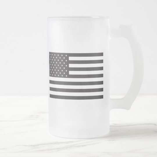 American Flag Frosted Glass Beer Mug