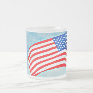 American Flag Frosted Glass Mug