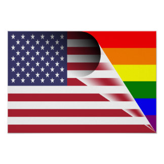 American Flag Gay Pride Rainbow Flag Poster